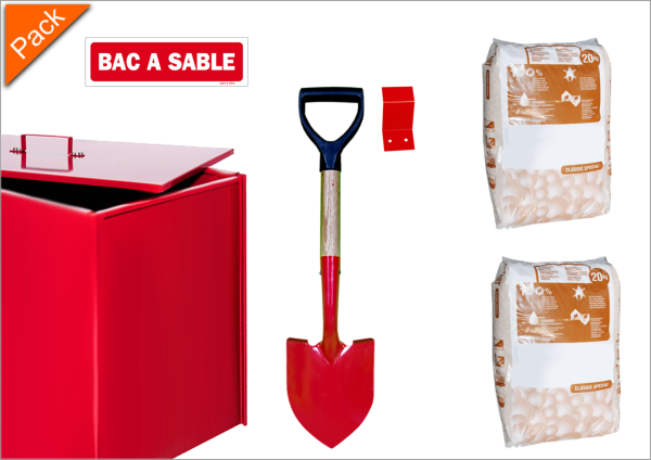 Pack Parking Bac à sable 100 litres + Pelle + Absorbant + Support +  Panneau